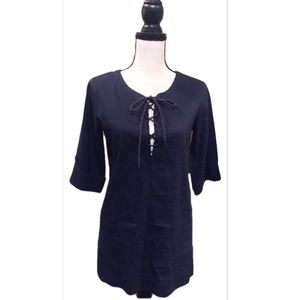 Theory Navy Lace-Up Tunic Style Top